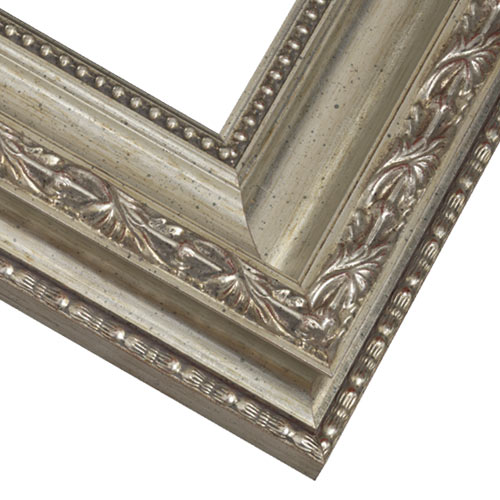 Close up Corner of Silver Ornate Antique Style Picture Frame