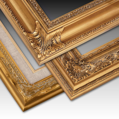 ornate details finished in luxurious gold leaf with rich patina washes and polished corners make these handcrafted canvas friendly frames an