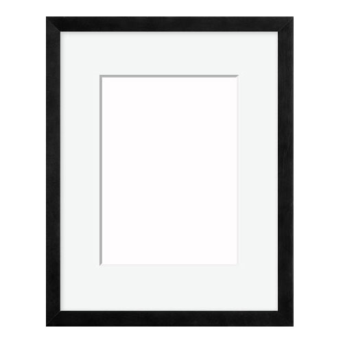 Wood Frame with Mat and Hardware | 4AP Black Wood Picture Frame ...