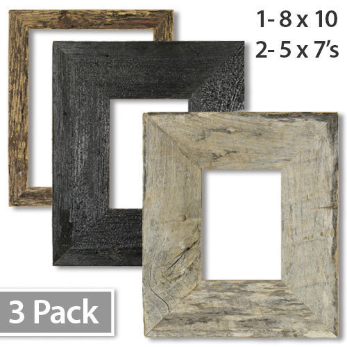 Neutral Barnwood 8x10 3 pack Tabletop Picture Frames