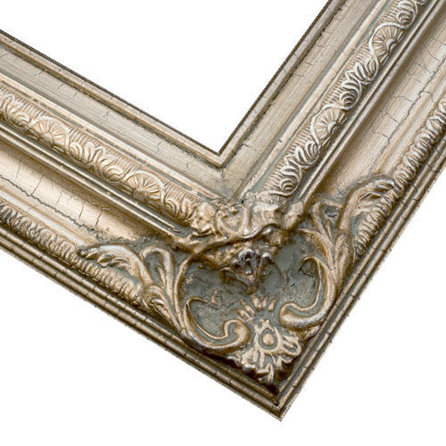 Ready Made Frames : Canvas picture frame crackled silver wood