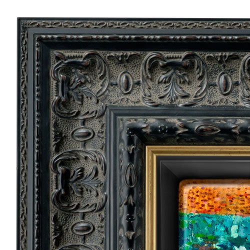 Wood Canvas Floater Picture Frame Custom Black With Gold Inner Lip